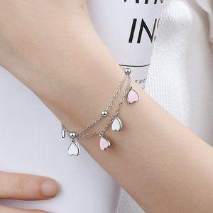 NEW 925 Sterling Silver Glazed Heart Bracelet